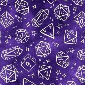 Watercolor Line Art Dice - Purple