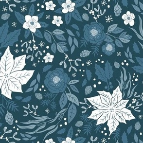 Blue Winter Floral