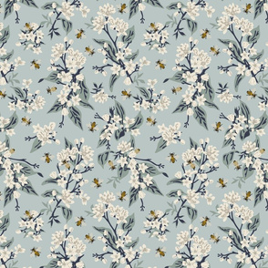 Flowers & Bees ONLY - Medium - Blue