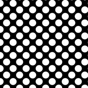 White Circles Polka Dot Black Background Pattern