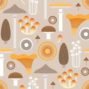 mushrooms on sand