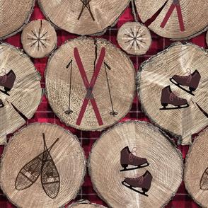 wood with plaid background and ski icons medium