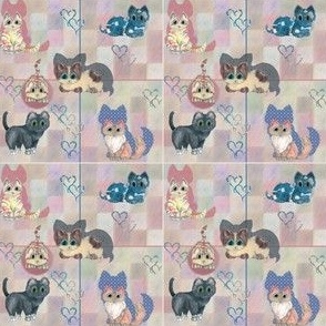 Tiny Print of Checkered Playful Cats