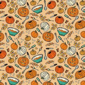Pumpkin Carving Peach and Aqua