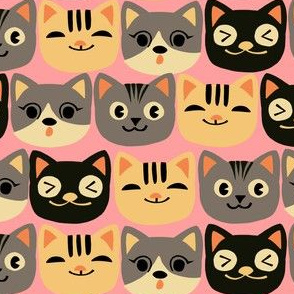 Cat Faces on Pink