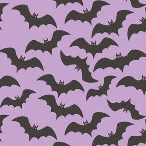 Charcoal Bats on Pastel Purple