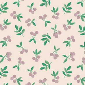 Little Cherry love garden fruit and leaves nursery design pale cream sand green mauve
