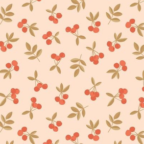 Little Cherry love garden fruit and leaves nursery design pale peach seventies retro orange