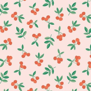 Little Cherry love garden fruit and leaves nursery design pale pink orange green retro