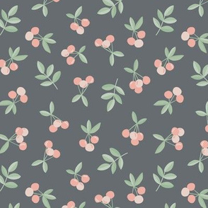 Little Cherry love garden fruit and leaves nursery design charcoal gray green pink retro