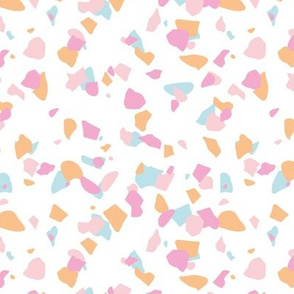 Terrazzo messy confetti abstract paper cut shapes trendy nursery design pink peach blue