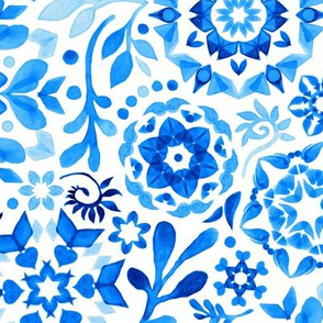 Geometric Winter Blooms in Monochrome Blue and White - large