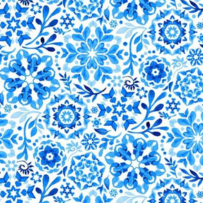 Geometric Winter Blooms in Monochrome Blue and White - tiny