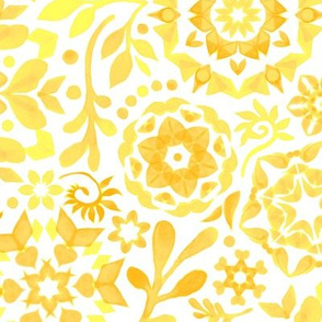 Geometric Summer Blooms in Monochrome Yellow and White - large