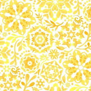 Geometric Summer Blooms in Monochrome Yellow and White - small