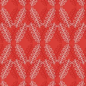 Squiggly Diamonds - red