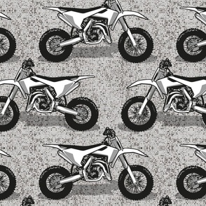 Normal scale // Motocross // monochromatic grey background and motorcycles
