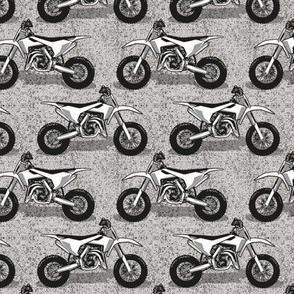 Small scale // Motocross // monochromatic grey background and motorcycles