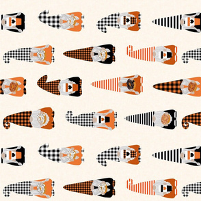 LARGE fall gnomes fabric - tomten fabric, pumpkin spice coffees and donuts - buffalo plaid orange