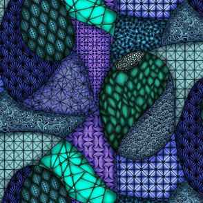 Patchwork Patterns--green and purple