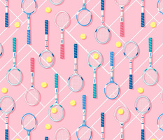 Retro Tennis Racquets Pink 80s