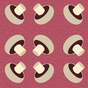mushroom carpet-lg wine red
