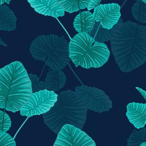 Hawaiian Jungle Leaves Green