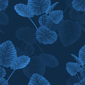 Hawaiian Jungle Leaves Navy