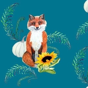 Foxy Florist,  fox with sunflower, fern and white pumpkin on teal