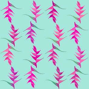 Flower Stripe Pink on Aqua