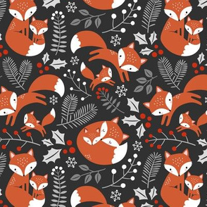 Cute Winter Fox Family / Dark Grey / Small