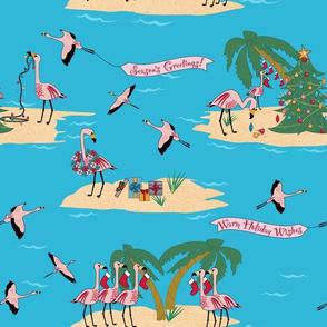 Tropical Christmas Flamingos on Darker Blue Paducaru