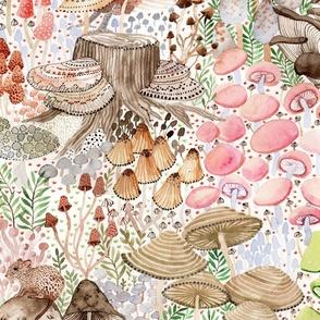 Large - Mushroom garden, sleeping fox, quail, mouse, frog, hedgehog, hare, bunny