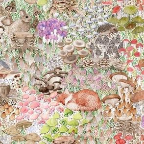 small-mushroom garden with fox, quail, hare, mouse, frog, hedgehog