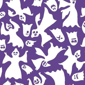Spoopy Silly Halloween Ghosts Trick or Treat Purple