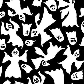 Spoopy Black and White Halloween Ghosts Trick or Treating