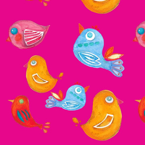 Folk Birdies on Pink