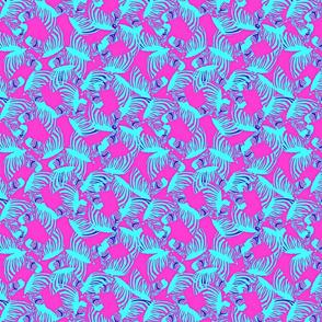 high contrast zebras on magenta