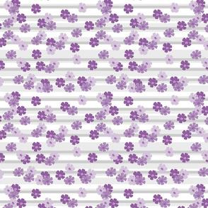 Purple Flowers over grey Stripes