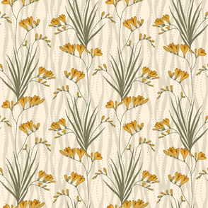 Bella Nora Golden freesia floral pattern