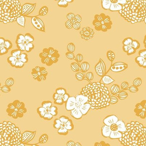 Raw ink autumn garden botanical vintage leaves and flowers fall nursery soft yellow ochre white
