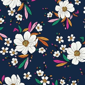 Flower fun in navy - medium