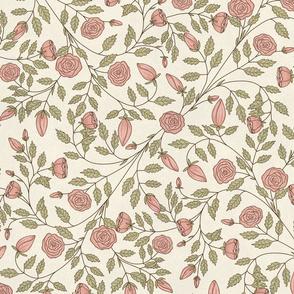 Bella Nora Pink roses trailing pattern