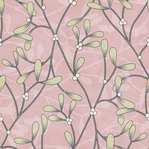Bella Nora Pink textured mistletoe pattern