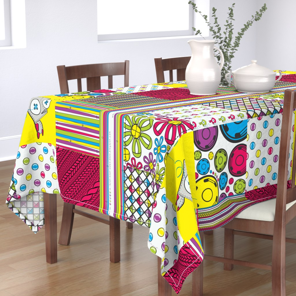 Bantam Rectangular Tablecloth featuring The Seamstress' Robot (1yd ready-to-sew cheater quilt) by majobv