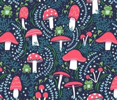 """Vermilion Mushrooms, Toadstools and Frogs (L -18"""" repeat)"""