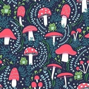 """Vermilion Mushrooms, Toadstools and Frogs (S- 6"""" repeat)"""