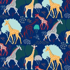 Giraffe Safari Navy