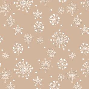 Little snow flake and crystal sparkle abstract winter wonderland design neutral nursery trend seventies latte beige brown