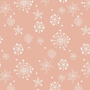 Little snow flake and crystal sparkle abstract winter wonderland design neutral nursery trend seventies peach orange